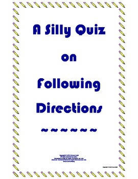 Following directions worksheet funny
