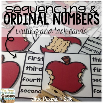 Sequencing and Ordinal Numbers Task Cards and Writing
