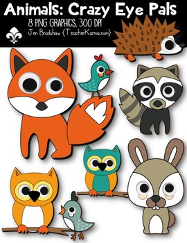 Animals: CRAZY EYE PALS Clipart ~ Commercial Use OK