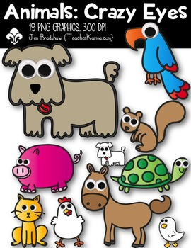 Animals: Crazy Eyes Clipart ~ Commercial Use OK