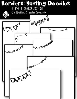 Borders Bunting Doodles Clipart ~ Commercial Use OK