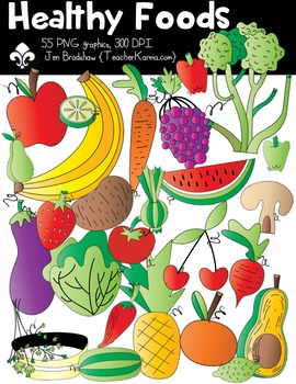 Healthy Foods Clipart ~ Commercial OK ~ Fruits & Vegetables