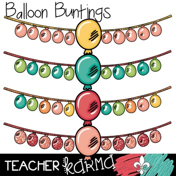 {$1 DEAL} Balloon Buntings  Clipart ~ Banners ~ Party ~ Co