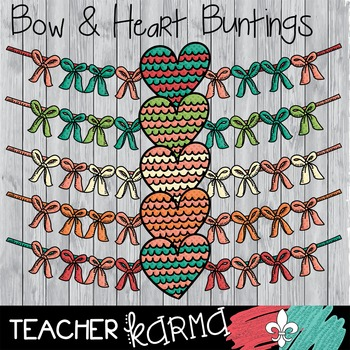 {$1 DEAL} Bow and Heart Buntings Clipart ~ Banners  ~ Comm