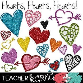 Hearts, Hearts, Hearts GLITTER Clipart ~ Commercial OK ~ V