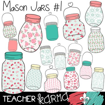 {$1 DEAL} Mason Jars #1 Clipart ~ Flowers ~ Roses ~ Commer