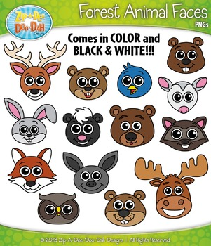 Forest Animal Faces Clipart Set — Includes 30 Graphics!