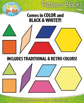 Pattern Block Shapes Clipart Set — Includes 18 Graphics!