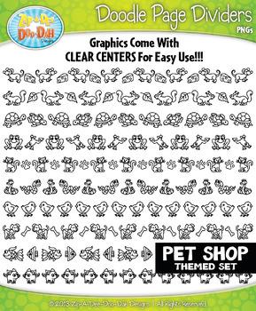Pet Shop Doodle Page Divider Clipart Set — Includes 10 Graphics!