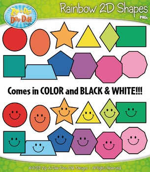 Rainbow Shapes Clipart Set — Includes 48 Graphics!