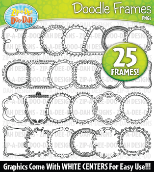 Thin Doodle Frames Clipart Set 2 — Includes 25 Graphics!