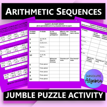 $100,000 Pyramid Game Show Activity…Arithmetic Sequences G