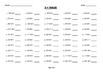 (2 x) Two Multiplication / Times Tables Worksheets / Booklet