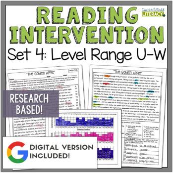 Reading Intervention Program: Set Four Level Range U-W RES