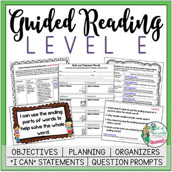 Guided Reading Lesson Plans Level E