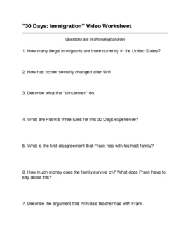 """30 Days: Immigration"" Episode Video Worksheet"