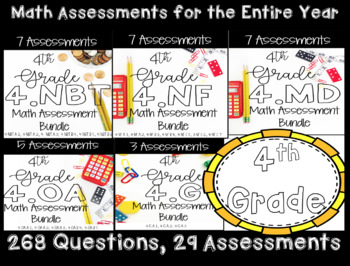 **4th Grade Math CCSS Standard Based Assessments for Year!