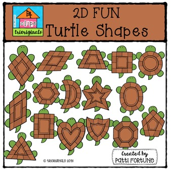 2D FUN Turtle Shapes {P4 Clips Trioriginals Digital Clip Art}