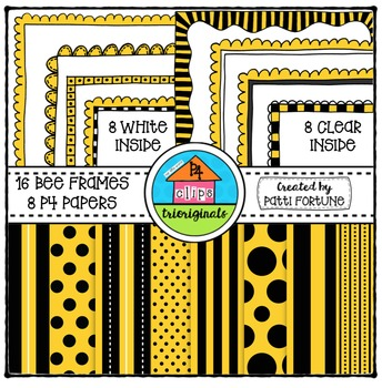 Bee Frames and P4 Paper {P4 Clips Trioriginals Digital Clip Art}