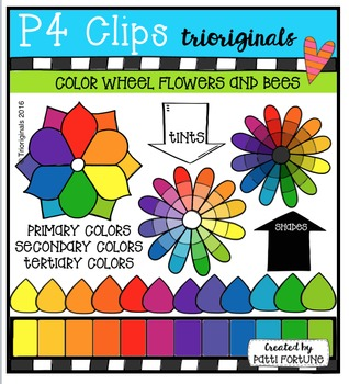 Color Flowers and Paint Drops {P4 Clips Trioriginals Clip Art}