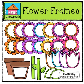 Flower Frames {P4 Clips Trioriginals Digital Clip Art}