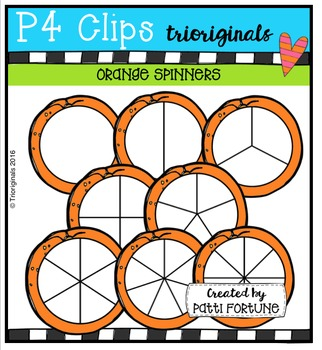 Orange SPiNNERS {P4 Clips Trioriginals Digital Clip Art}