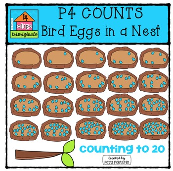 P4 COUNTS Eggs in a Nest {P4 Clips Trioriginals Digital Clip Art}