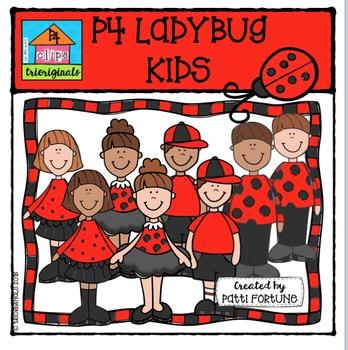 P4 Ladybug Kids {P4 Clips Trioriginals Digital Clip Art}