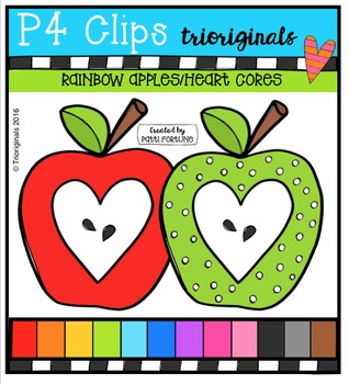 P4 RAINBOW Apples Heart Cores (P4 Clips Trioriginals}