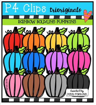 P4 RAINBOW Bold/Line Pumpkins {P4 Clips Trioriginals}