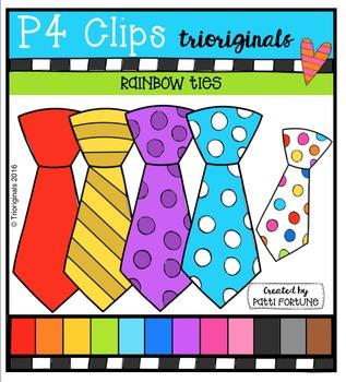 P4 RAINBOW Ties {P4 Clips Trioriginals Digital Clip Art}