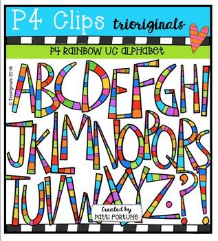 P4 RAINBOW UC Alphabet {P4 Clips Trioriginals Digital Clip Art}