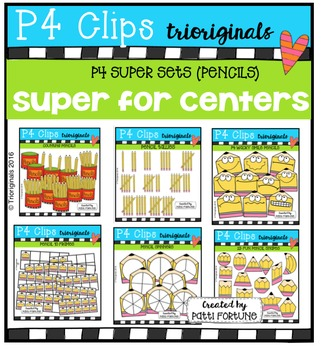 P4 SUPER SET Pencils  {P4 Clips Trioriginals Digital Clip Art}