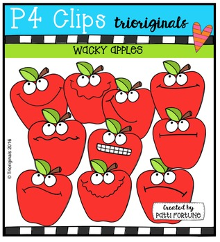 P4 WACKY Apples  {P4 Clips Trioriginals Digital Clip Art}