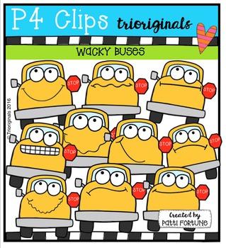 P4 WACKY School Buses  {P4 Clips Trioriginals Digital Clip Art}