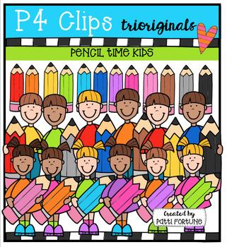 Pencil Time Kids  {P4 Clips Trioriginals Digital Clip Art}