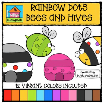 RAINBOW Bees and Hives {P4 Clips Trioriginals Digital Clip Art}