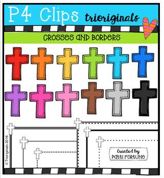 RAINBOW Crosses and Borders  {P4 Clips Trioriginals Digita