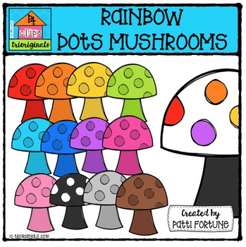 RAINBOW Dots Mushrooms {P4 Clips Trioriginals Digital Clip Art}