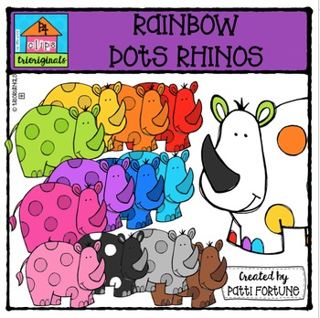 RAINBOW Dots Rhinos {P4 Clips Trioriginals Digital Clip Art}