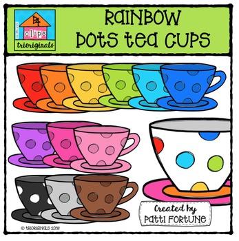 P4 RAINBOW Dots Teacups {P4 Clips Trioriginals Digital Clip Art}