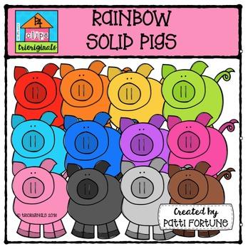 RAINBOW Solid Pigs {P4 Clips Trioriginals Digital Clip Art}
