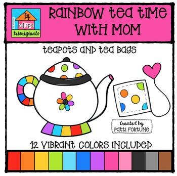 RAINBOW Tea Pots for Mom {P4 Clips Triorignals Digital Clipart}