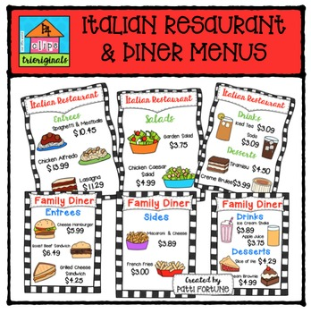Restaurant & Diner Menus {P4 Clips Trioriginals Digital Clip Art}