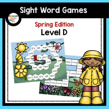Sight Word Games for Kindergarten - Spring (Level D)