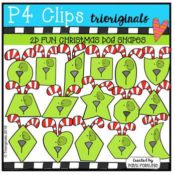2D FUN Christmas Dog Shapes ( P4 Clips Trioriginals Digita
