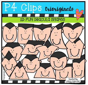 2D FUN Dracula Shapes (P4 Clips Trioriginals Digital Clip Art)