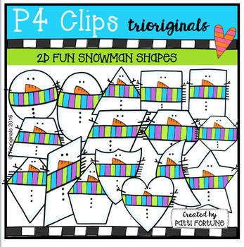 2D FUN Snowman Shapes (P4 Clips Trioriginals Digital Clip Art)