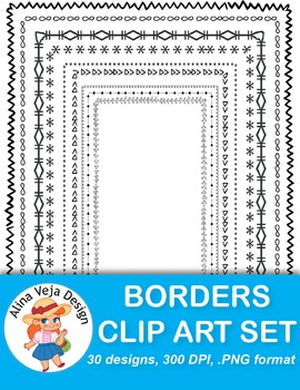 30 Borders Clip Art {Doodle & Geometric Set 2}