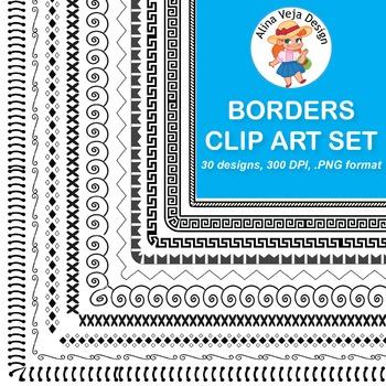 30 Borders Clip Art {Doodle & Geometric Set 3}
